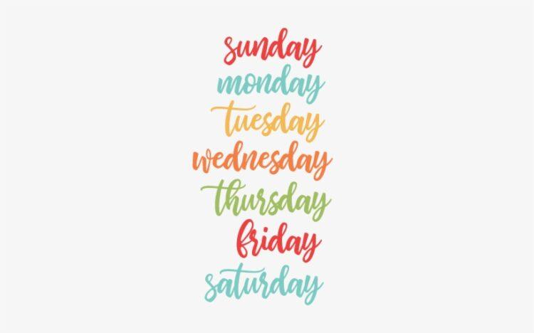 روزهای هفته به زبان انگلیسی